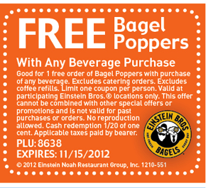Free Bagel Poppers with any beverage purchase