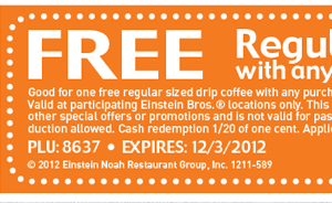 Free regular drip coffee with any purchase